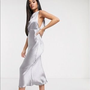 Asos Dark Frey/Silver Wedding Guest Dress